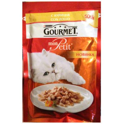 Паучи Gourmet Mon Petit для кошек кусочки в соусе курица 50г (упак. 30 шт) (12287007)