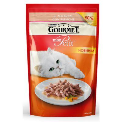 Паучи Gourmet Mon Petit для кошек кусочки в соусе лосось 50г (упак. 30 шт) (12287079)