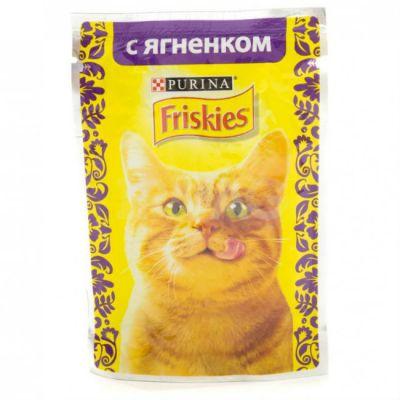 Паучи Friskies для кошек кусочки в подливе Ягненок 85г (упак. 24 шт) (12261837)