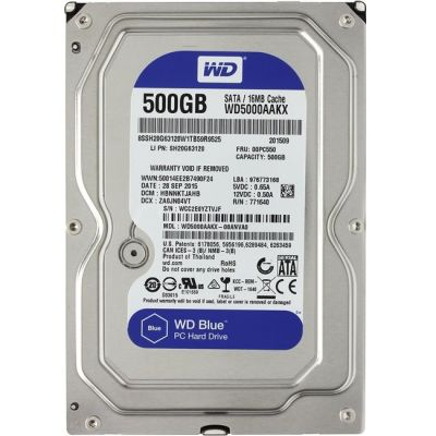 "Жесткий диск Western Digital SATA3 500Gb Caviar Blue 16Mb 3.5"" WD5000AAKX"