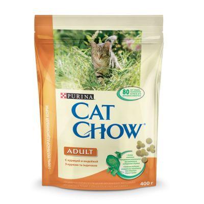 Сухой корм Cat Chow ADULT для взрослых кошек индейка/курица 400г (12267388)