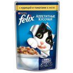 Паучи Felix для кошек кусочки в желе курица/томаты 85г (упак. 24 шт) (12114152)