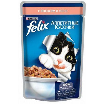 Паучи Felix для кошек кусочки в желе лосось 85г (упак. 24 шт) (12114151)