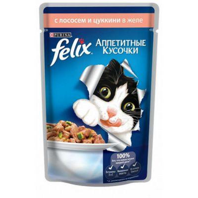 Паучи Felix для кошек кусочки в желе лосось/цукини 85г (упак. 24 шт) (12114154)