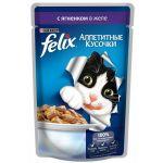 Паучи Felix для кошек кусочки в желе ягненок 85г (упак. 24 шт) (12220073)