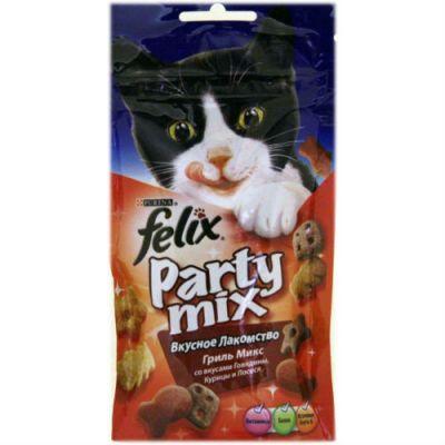Сухой корм Felix для кошек Party Mix Гриль Микс 60г (упак. 8 шт) (12234059)