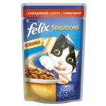 Паучи Felix Sensations для кошек кусочки в желе говядина/томат 85г (упак. 24 шт) (12232833)