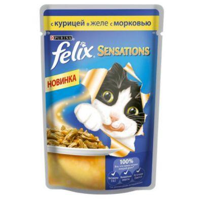 Паучи Felix Sensations для кошек кусочки в желе курица/морковь 85г (упак. 24 шт) (12232832)