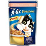 Паучи Felix Sensations для кошек кусочки в желе лосось/треска 85г (упак 24 шт) (12232834)