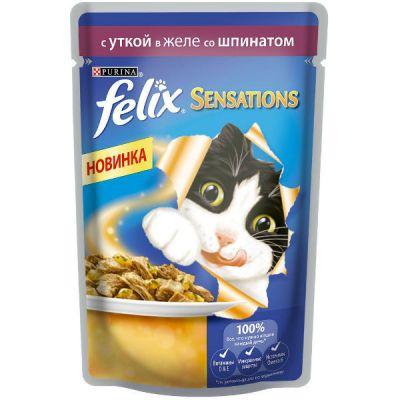 Паучи Felix Sensations для кошек кусочки в желе утка/шпинат 85г (упак. 24 шт) (12232836)