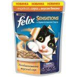 Паучи Felix Sensations для кошек кусочки в удивительном соусе индейка/бекон 85г (упак. 24 шт) (12261020)