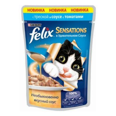 Паучи Felix Sensations для кошек кусочки в удивительном соусе треска/томаты 85г (упак. 24 шт) (12260969)