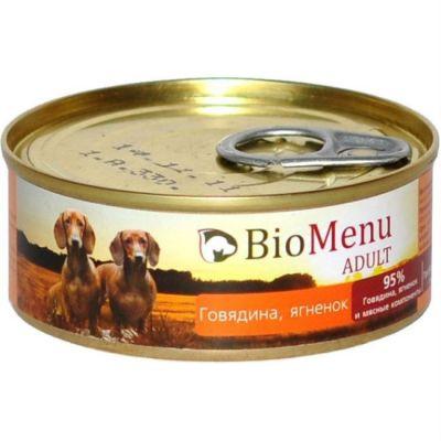 Консервы Biomenu adult для взрослых собак говядина/ягненок 100г