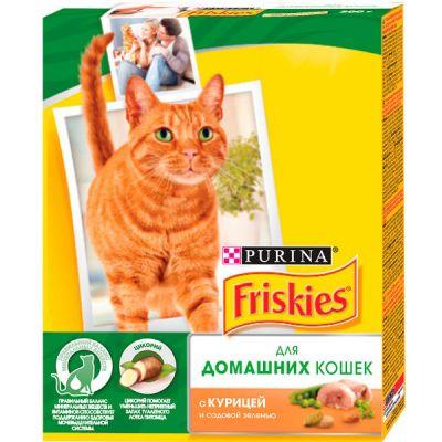 Сухой корм Friskies для домашних кошек курица/садовая зелень 300г (12274332)