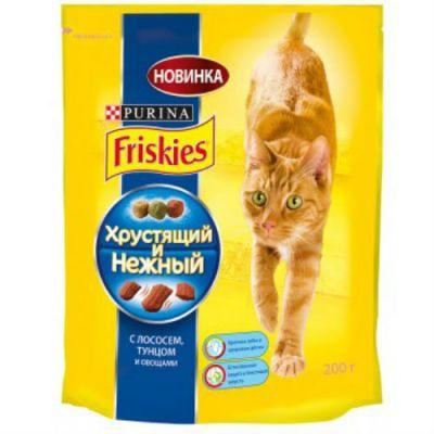 Сухой корм Friskies Хрустящий и Нежный для кошек лосось/тунец/овощи 200г (12240647)