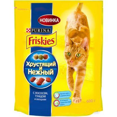 Сухой корм Friskies Хрустящий и Нежный для кошек лосось/тунец/овощи 600г (12236696)
