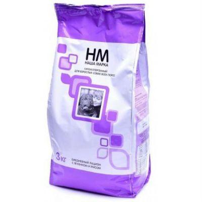 Сухой корм Наша Марка гипоаллергенный для взрослых собак всех пород с мясом ягненка и рисом упак.3кг