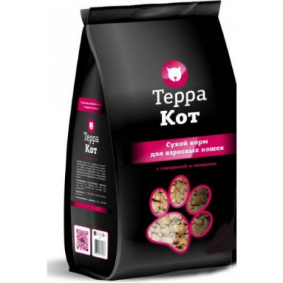 Сухой корм Терра Кот для взрослых кошек (с говядиной и овощами) упак.10 кг