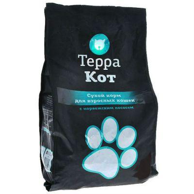 Сухой корм Терра Кот для взрослых кошек (с норвежским лососем) упак.10 кг