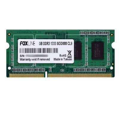 Оперативная память Foxline DDR3 1333 (PC 10600) SODIMM 204 pin, 1x1 Гб, CL 9 FL1333D3S9S-1G