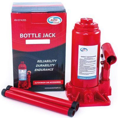 Домкрат AutoVirazh гидравлический 4 т бутылочный в коробке 2-х штоковый (красный)