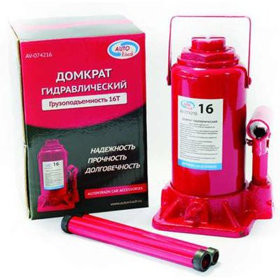 Домкрат AutoVirazh гидравлический 16 т бутылочный в коробке (красный)