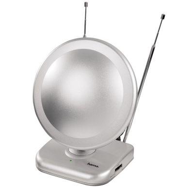 Антенна Hama DVB-T активная для цифрового/аналогового радио/ТВ 45дБ серебристый H-44283
