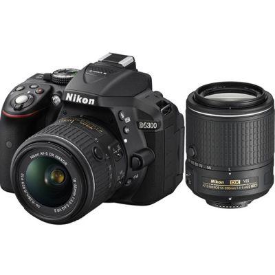 "Зеркальный фотоаппарат Nikon D5300 Black DX 18-55 VR II + 55-200 VR II, 24.1Mp, 3.2"" WiFi, GPS VBA370KR01"