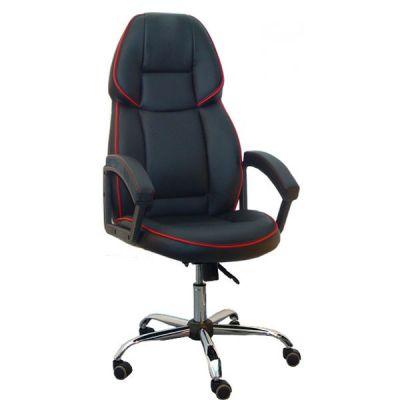 Офисное кресло Сарос Адмирал 2 хром черный с красным кантом