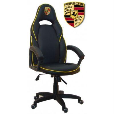 Офисное кресло Сарос Алонсо Porsche черный с желтым кантом