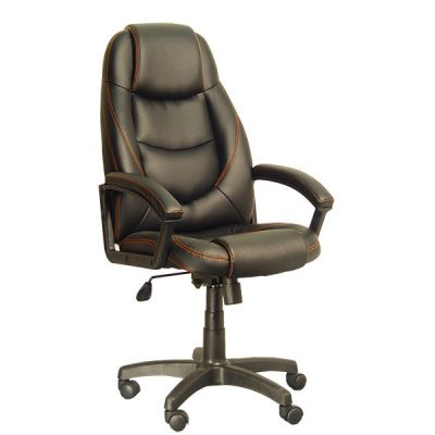 Офисное кресло Сарос Электрус черный с оранжевым швом