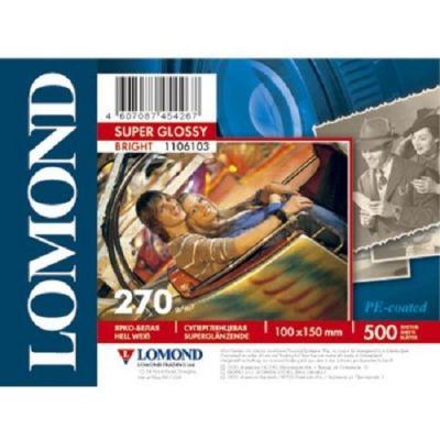 Бумага Lomond Односторонняя Супер Глянцевая Bright, 270г/м2, A6(10x15)/500л 1106103