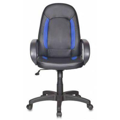 Офисное кресло Бюрократ руководителя CH-826 B+BL вставки синий сиденье черный искусственная кожа