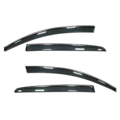 Дефлекторы Satori на боковые окна накладные PRADAR Hyundai ix35 10-> (4 шт.)с хром.полосой SI 11-00008