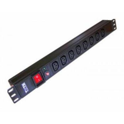 Lanmaster Блок распределения питания гор.размещ. 8xC13 базовые 10A C14 TWT-PDU19-10A8C13