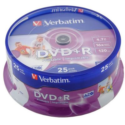 Диск Verbatim DVD+R 4.7Gb Verbatim 16x 25 шт Cake Box Printable (43539)
