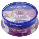 ���� Verbatim DVD+R 4.7Gb Verbatim 16x 25 �� Cake Box Printable (43539)