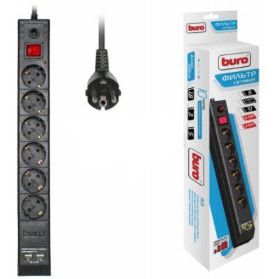 Сетевой фильтр Buro чёрный (6 розеток, 1.8 метров, 2 USB) BU-SP1.8_USB/B