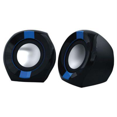 Колонки Oklick OK-203 2.0 черный/синий 5Вт портативные