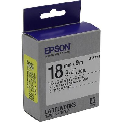 Расходный материал Epson Лента прозрачная LK5WBN Std Blk/Wht 18/9 C53S655006