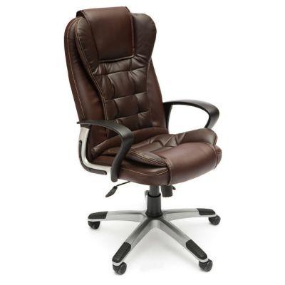 Офисное кресло Тетчер BARON кож/зам, (коричневый/коричневый перфорированный)