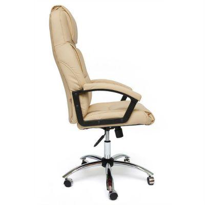 Офисное кресло Тетчер BERGAMO хром кож/зам,(бежевый)
