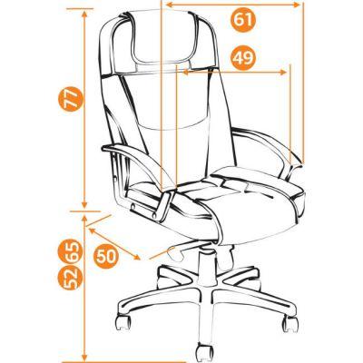 Офисное кресло Тетчер BERGAMO хром кож/зам, (коричневый )