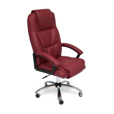 Офисное кресло Тетчер BERGAMO хром кож/зам, (бордо)