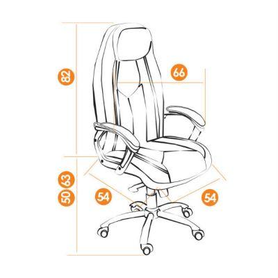 Офисное кресло Тетчер BOSS люкс хром кож/зам, (черный/черный перфорированный)