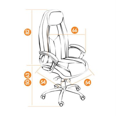 Офисное кресло Тетчер BOSS люкс хром кож/зам, ( 2 TONE коричневый/коричневый перфорированный)