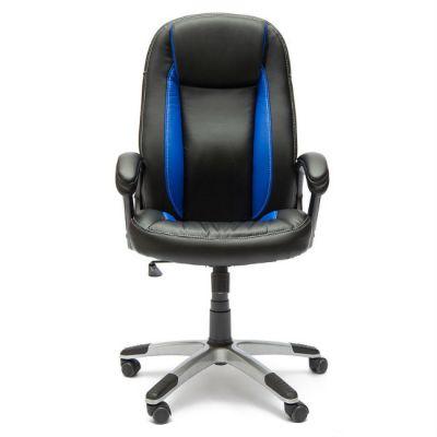 Офисное кресло Тетчер BRINDISI кож/зам, (черный/синий/черный перфорированный)