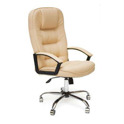 Офисное кресло Тетчер СН9944 Хром, кож/зам, бежевый