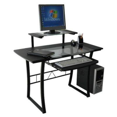 Стол Тетчер STUDIO прозрачное стекло, черный МДФ/черный каркас (WRX-05)