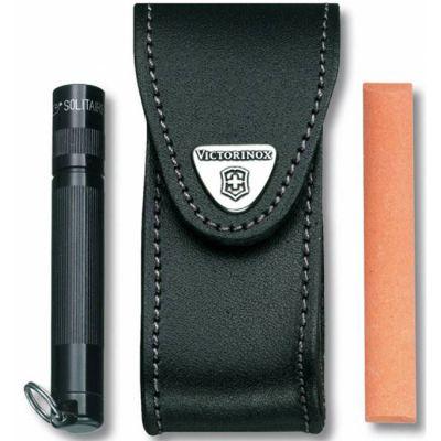 Чехол Victorinox кожаный с застежкой Velkro для ножей 91мм 2-4 уровня, черный 4.0520.32